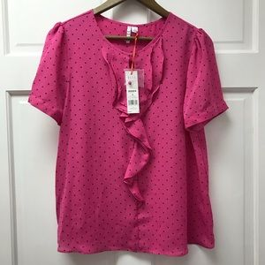 Elle Pink and Black Blouse NWT